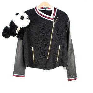 New black Express lace varsity jacket